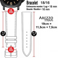 Watchstrap Arezzo BRUTUS 18mm Vintage brown Leather white stiches