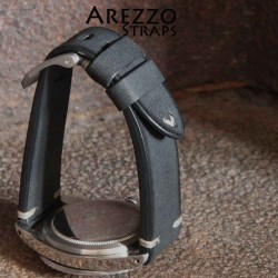 Watchstrap Arezzo BRUTUS 20mm Vintage black Leather white stiches