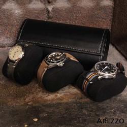 Roll 3 montres PRESTIGIUM3 en cuir noir
