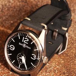 Watchstrap Arezzo BRUTUS 22mm Vintage black Leather white stiches