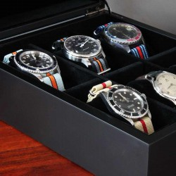 Watchbox black wood for 6 watches AREZZO
