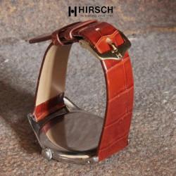 Watchstrap Hirsch PRESTIGE CROCO gold brown 18mm
