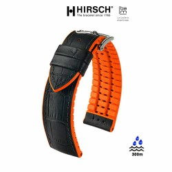 Watchstrap Hirsch ANDY orange 20mm and black leather