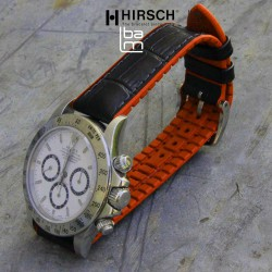 Watchstrap Hirsch ANDY orange 22mm and black leather