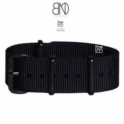 Bracelet NATO 20mm noir PVD Noir