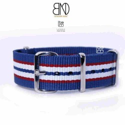 Bracelet NATO 20mm rayures fines bleu blanc rouge