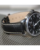 Watchstrap Hirsch Modena Black 22mm white stiches