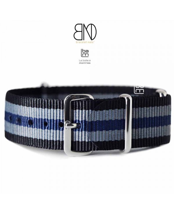 NATO Strap 20mm JB grey and blue