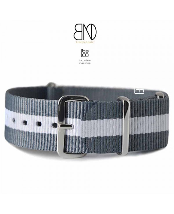 NATO Strap grey with white center 20mm