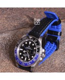 Watchstrap Hirsch AYRTON Blue 22mm and Carbone Leather