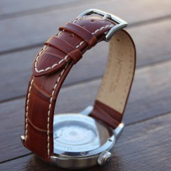 Watchstrap Hirsch Modena Gold Brown 22mm white stiches