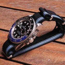 NATO Strap 20mm ALPINE black and blue