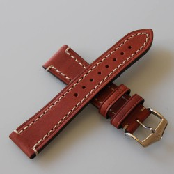 Watchstrap Hirsch KNIGHT gold brown 20mm white stiches
