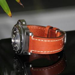 Watchstrap Hirsch Liberty light brown 22mm white stiches