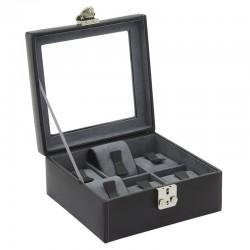 Coffret 6 montres cuir Noir intérieur gris