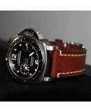 Watchstrap Hirsch Liberty dark brown 22mm white stiches