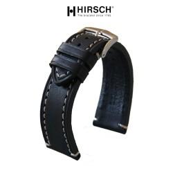 Bracelet Hirsch Liberty Noir 22mm couture blanche