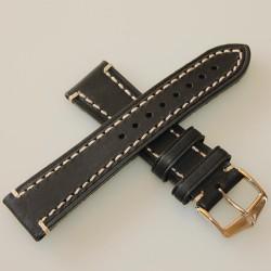 Watchstrap Hirsch Liberty black 22mm white stiches