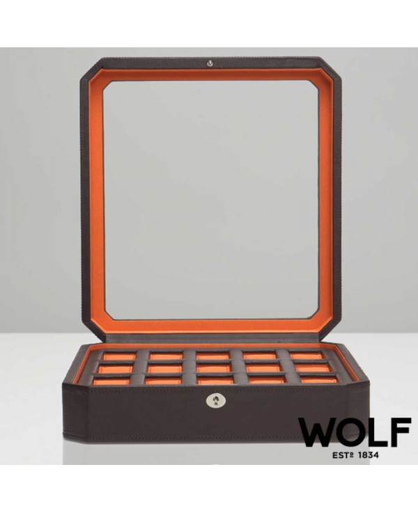 WOLF Windsor watchbox for 15 watches brown orange