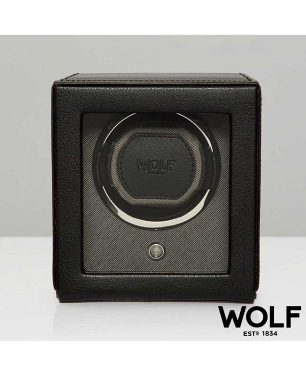 Watchwinder WOLF black with with glass cover