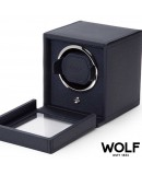 Watchwinder WOLF navy blue with with glass cover