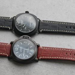 Watchstrap Hirsch KNIGHT black 22mm white stiches