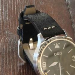 Watchstrap AREZZO SAFARI black 22mm