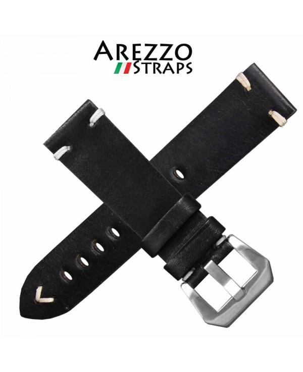 Watchstrap AREZZO BUFFALO black 22mm