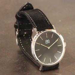 Watchstrap AREZZO NUBUCK SLIM black 18mm