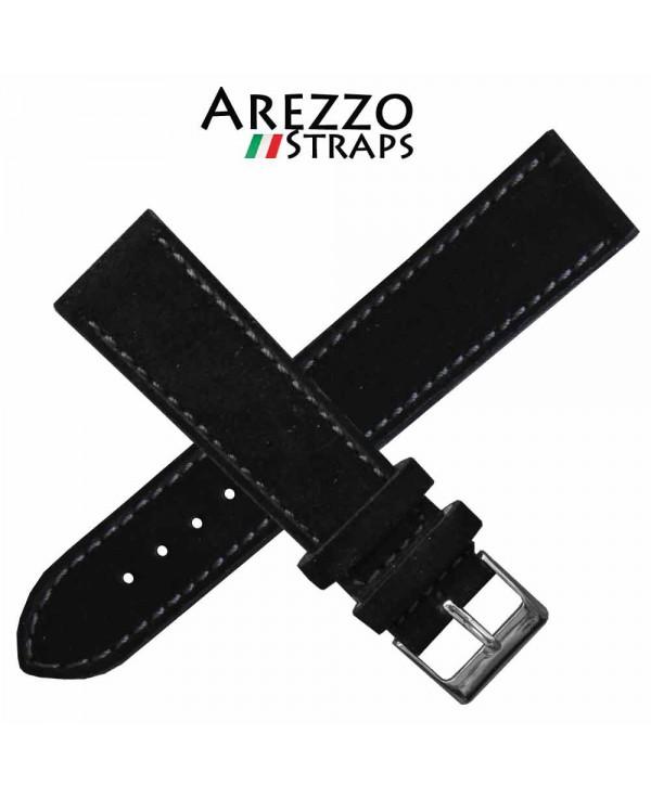Watchstrap AREZZO NUBUCK SLIM black 20mm