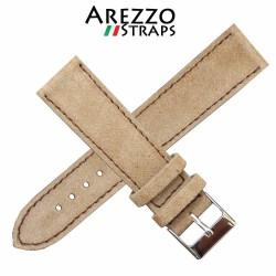 Watchstrap AREZZO NUBUCK SLIM beige 18mm