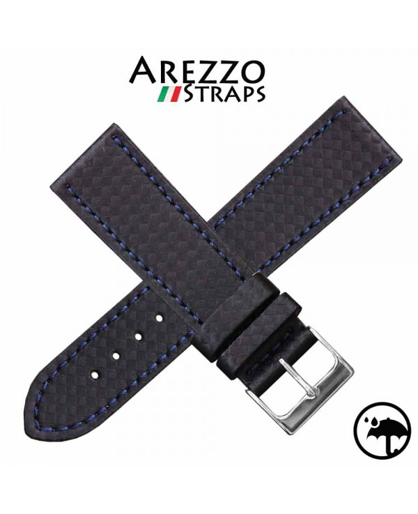 Watchstrap AREZZO RACING blue stich 20mm