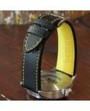 Watchstrap AREZZO RACING yellow stich 20mm