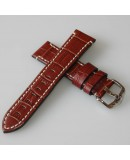 Watchstrap Hirsch KNIGHT gold brown 24mm white stiches