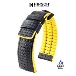 Bracelet Hirsch AYRTON Caoutchouc 20mm Jaune Cuir Carbone