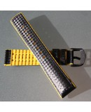 Watchstrap Hirsch AYRTON Yellow 20mm and Carbone Leather