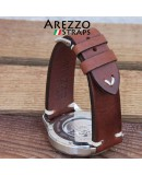 Watchstrap AREZZO VINTAGE leather brown 22mm