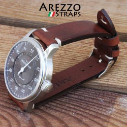 Watchstrap AREZZO VINTAGE leather brown 18mm
