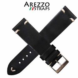 Watchstrap AREZZO VINTAGE leather black 22mm