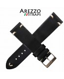 Watchstrap AREZZO VINTAGE leather black 18mm