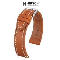 Watchstrap Hirsch Liberty light brown 24mm white stiches