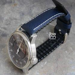 Watchstrap Hirsch TIGER blue 22mm
