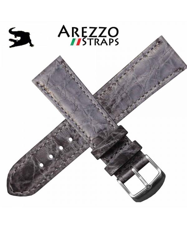 Watchstrap AREZZO Crocodile CLASSICO grey 18mm