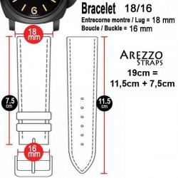 Watchstrap AREZZO VINTAGE leather bordeaux 18mm
