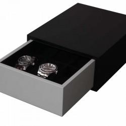 Coffret tiroir pour 6 montres Geneva SLIPCASE noir et gris