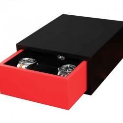 Coffret tiroir pour 6 montres Geneva SLIPCASE noir et rouge