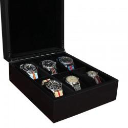 Coffret 6 montres Laque noire mate Geneva