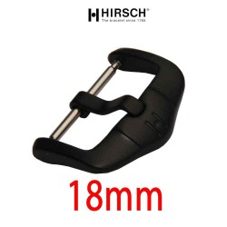 Buckle Hirsch 18mm black PVD stainless steel