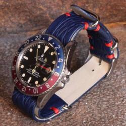 Watchstrap NATO crocodile 20mm Blue GMT