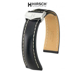 Watchstrap Hirsch NAVIGATOR 22mm black with deployment buckle